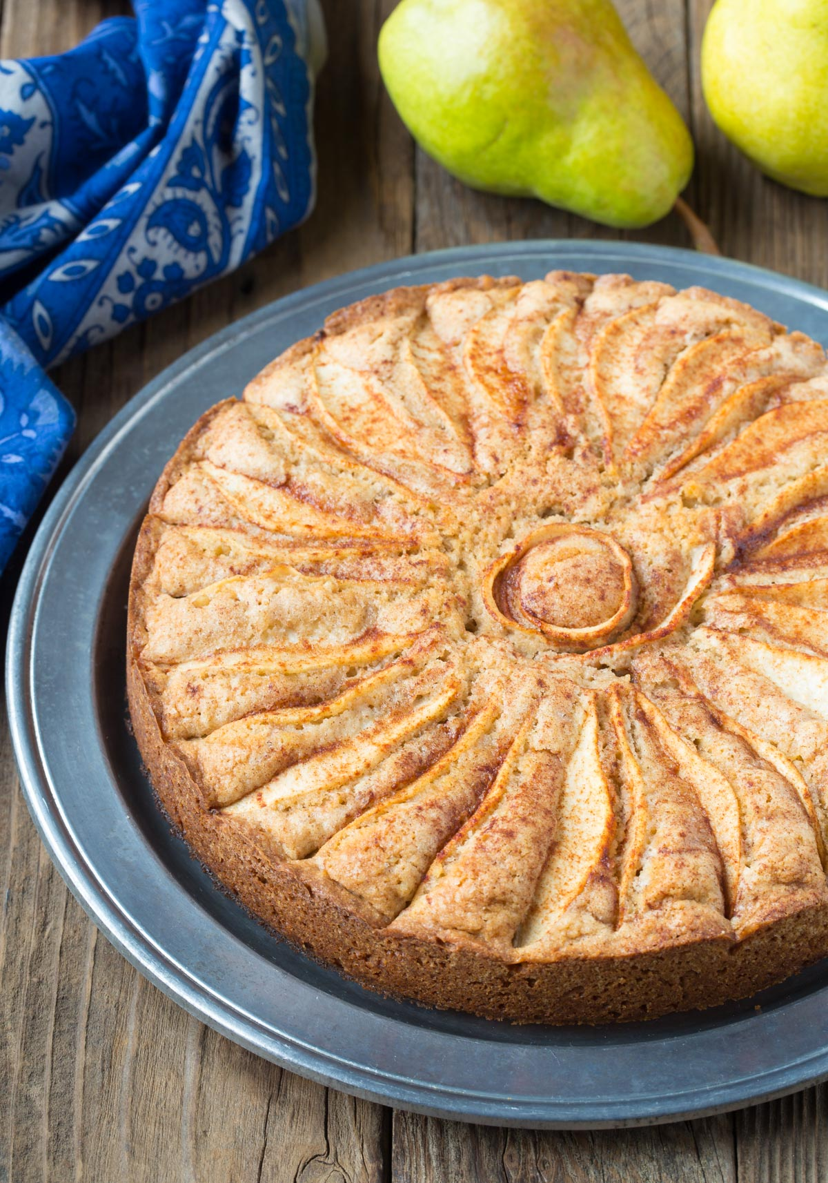 Rustic Spiced Walnut Pear Cake Recipe #ASpicyPerspective #holiday #christmas