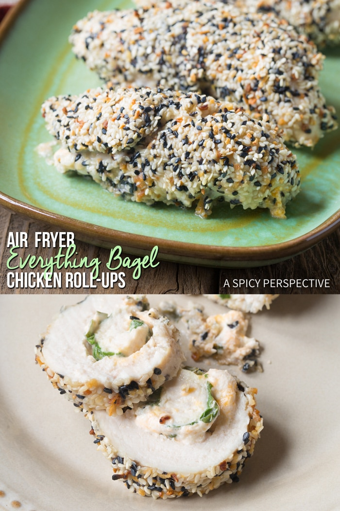 Crispy Air Fryer Everything Bagel Chicken Roll Ups Recipe (With Oven Instructions) #ASpicyPerspective #lowcarb #skinnytastoneanddone