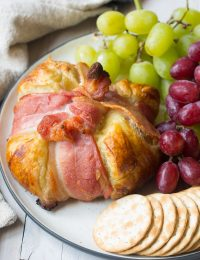 Bacon Wrapped Baked Brie in Puff Pastry Recipe #ASpicyPerspective #bakedbrie #holidays #christmas
