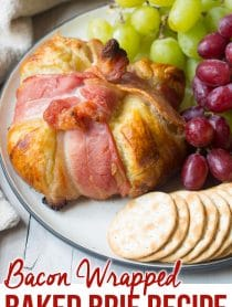 Holiday Bacon Wrapped Baked Brie in Puff Pastry Recipe #ASpicyPerspective #bakedbrie #holidays #christmas