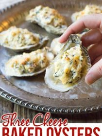 Best Three-Cheese Baked Oysters Recipe (In The Shell!) #ASpicyPerspective #holiday #newyears #christmas