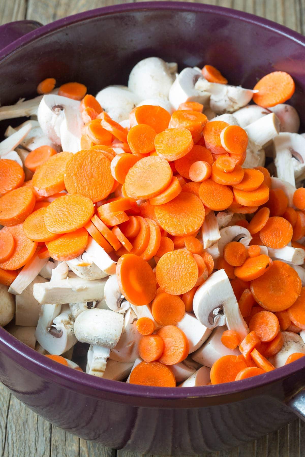 Carrots and Mushrooms #ASpicyPerspective #BeefStew #BeefStewRecipe #Stew #StewRecipe #Beef #Crockpot #InstantPot #Stovetop #BeefStewCrockpot #SlowCookerBeefStew #BestBeefStew #HowtoMakeBeefStew