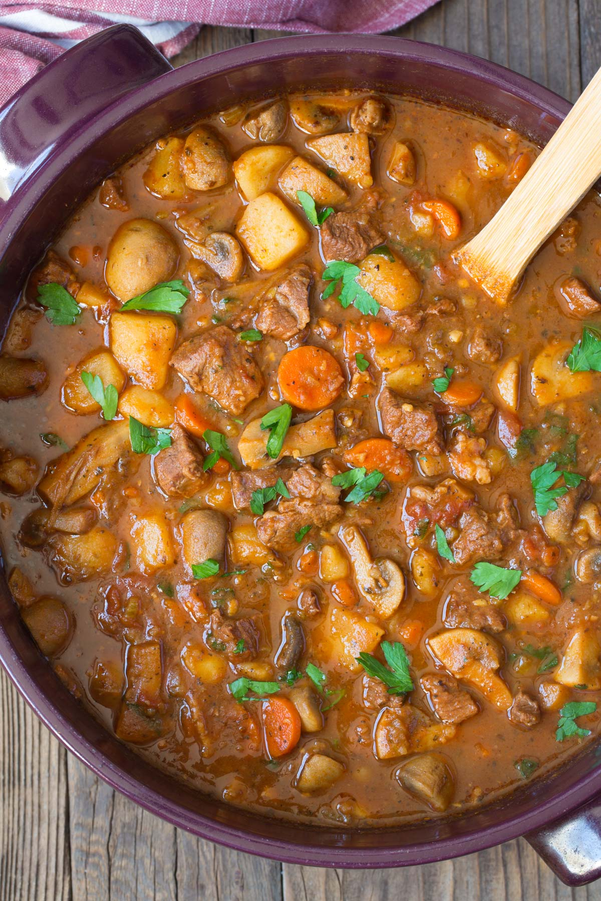The Best Instant Pot Beef Stew Recipe with Mushrooms (Easy Crockpot Beef Stew) #ASpicyPerspective #beefstew #crockpot #slowcooker