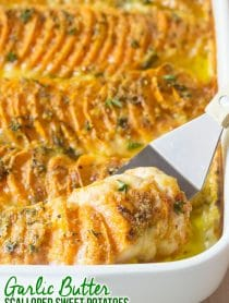 Cheesy Garlic Butter Scalloped Sweet Potatoes Recipe #ASpicyPerspective #Thanksgiving
