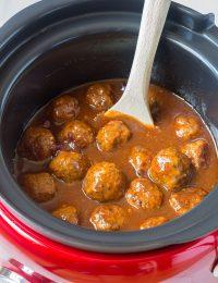 Sweet and Spicy Slow Cooker Cocktail Meatballs Recipe - (Crock Pot Meatballs) #ASpicyPerspective #meatballs #slowcooker #crockpot #meatballs