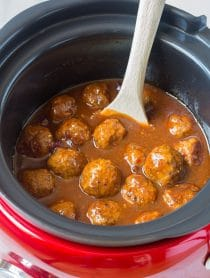 Sweet and Spicy Slow Cooker Cocktail Meatballs Recipe - (Crock Pot Meatballs) #ASpicyPerspective #meatballs #slowcooker #crockpot #meatballs