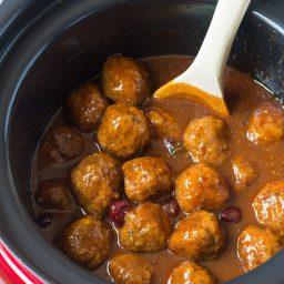 Spicy-Sweet Slow Cooker Cocktail Meatballs Recipe - (Crock Pot Meatballs) #ASpicyPerspective #meatballs #slowcooker #crockpot #meatballs