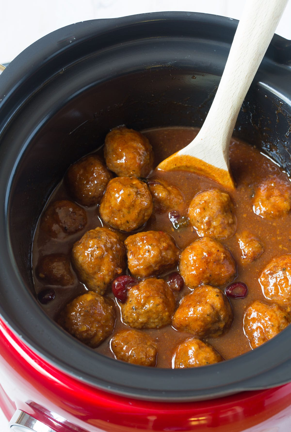 Spicy-Sweet Slow Cooker Cocktail Meatballs Recipe - (Crock Pot Meatballs) #ASpicyPerspective #meatballs #slowcooker #crockpot #meatballs