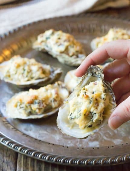 Three-Cheese Baked Oysters Recipe (In The Shell!) #ASpicyPerspective #holiday #newyears #christmas