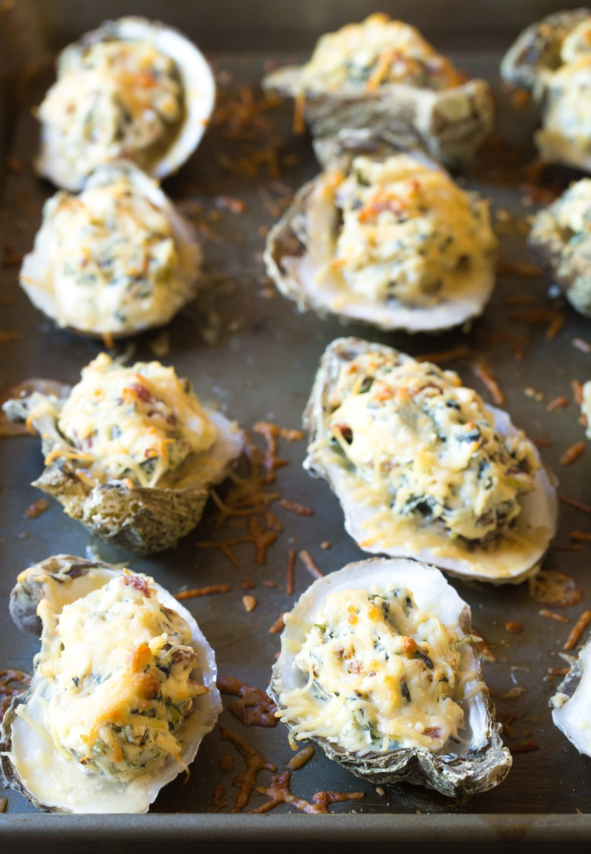 Molten Three-Cheese Baked Oysters Recipe (In The Shell!) #ASpicyPerspective #holiday #newyears #christmas