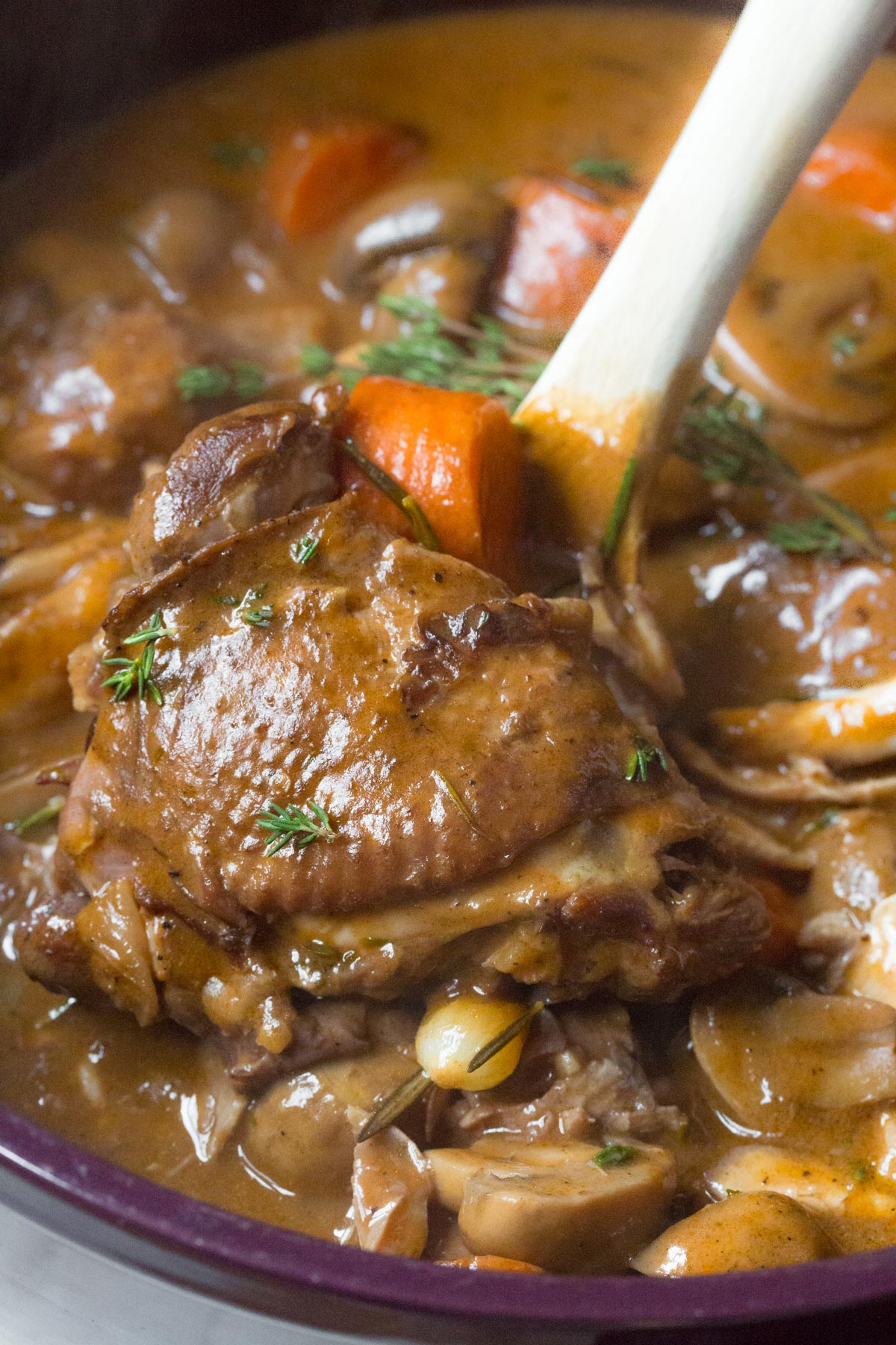 Creamy Coq au Vine Recipe #ASpicyPerspective #french #holiday