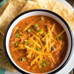 Healthy 5-Ingredient Cheesy Chicken Chili Recipe #ASpicyPerspective
