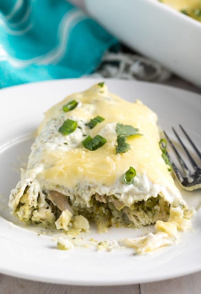 Zesty Enchiladas Suizas Recipe (Creamy Chicken Enchiladas) #ASpicyPerspective #GlutenFree