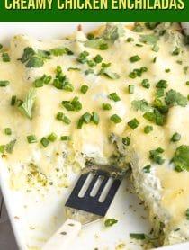 The BEST EVER Enchiladas Suizas Recipe (Creamy Chicken Enchiladas) #ASpicyPerspective #GlutenFree