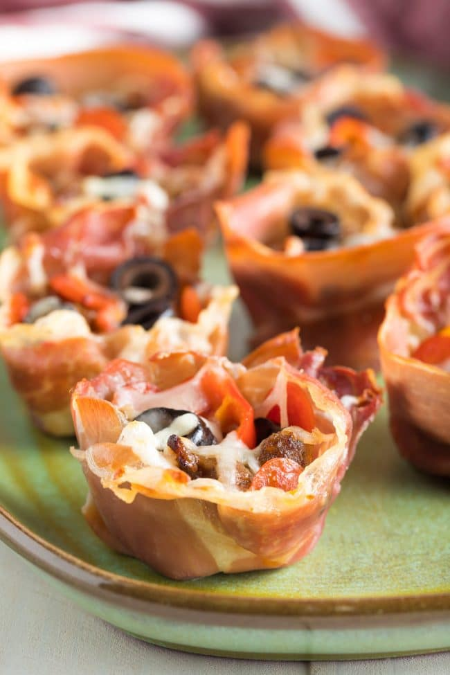 Crispy Low Carb Supreme Pizza Cups Recipe #ASpicyPerspective #keto #ketogenic