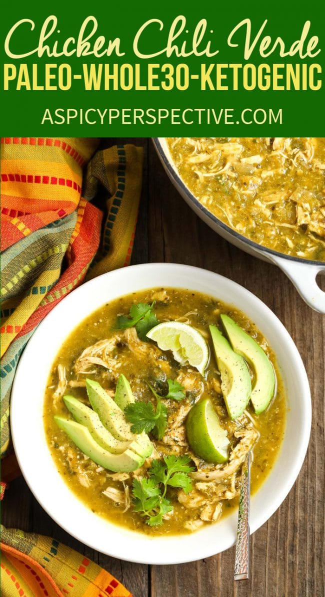 Easy Paleo Chicken Chili Verde Recipe #ASpicyPerspective #whole30 #paleo #lowcarb