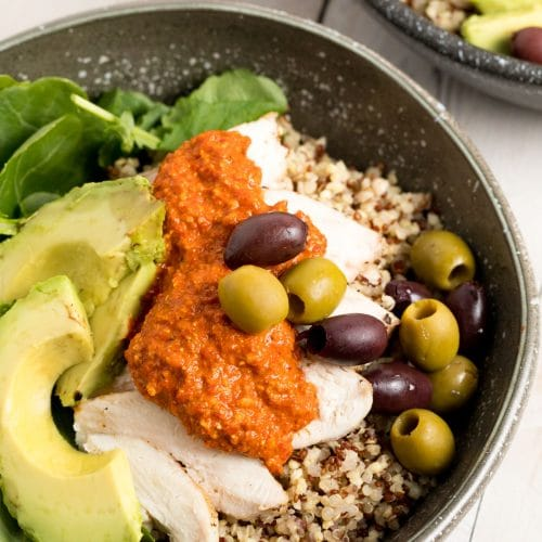 Chicken Quinoa Bowls With Romesco Sauce A Spicy Perspective