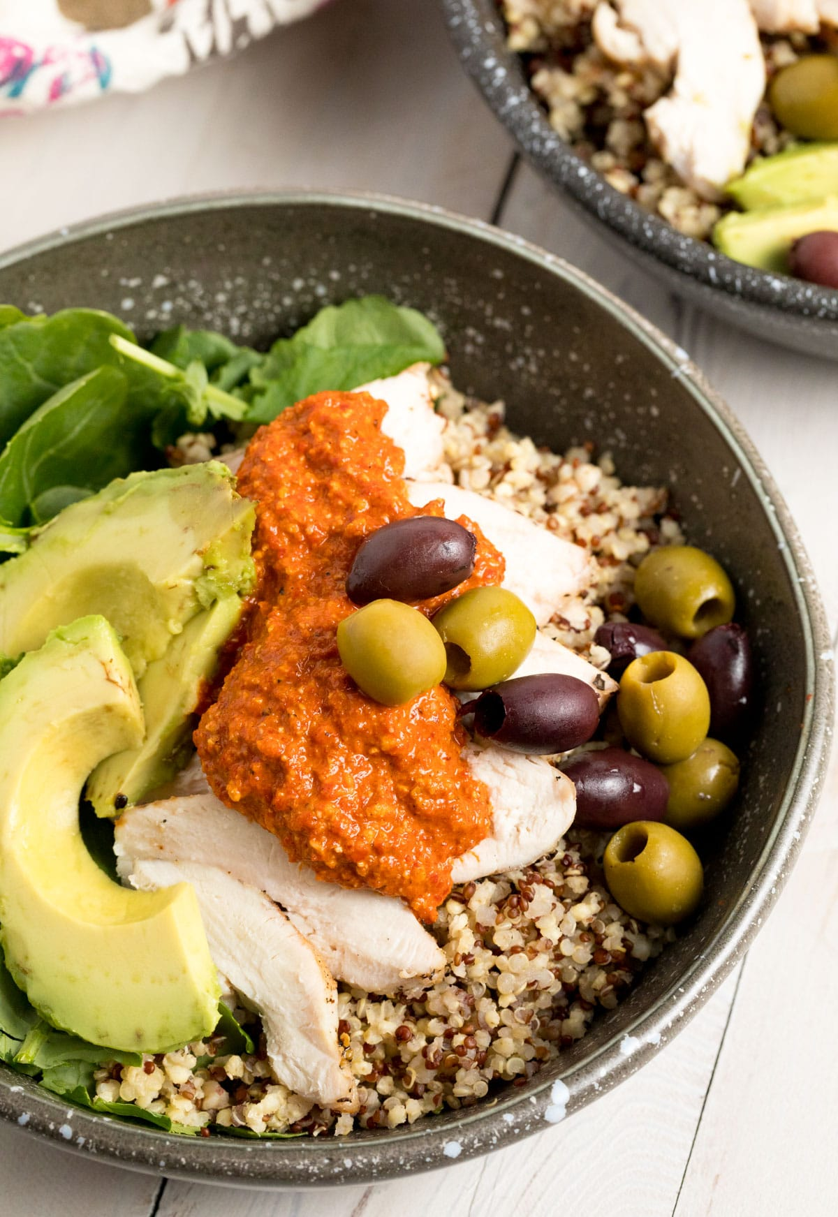 Healthy Grilled Chicken Quinoa Bowls with Romesco Sauce Recipe #ASpicyPerspective #healthy #skinny