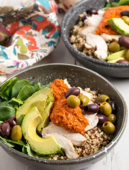 Grilled Chicken Quinoa Bowls with Romesco Sauce Recipe #ASpicyPerspective #healthy #skinny