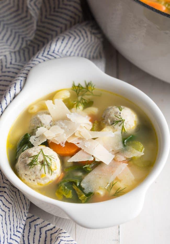 Healthy Meatball Wedding Soup Recipe #ASpicyPerspective #glutenfree #skinny