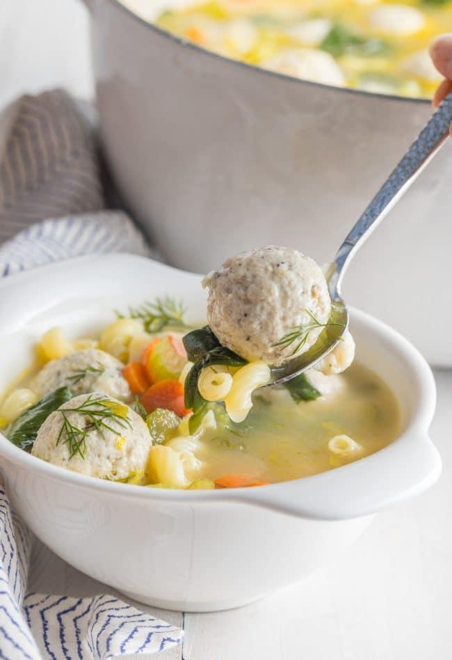 Gluten Free Meatball Wedding Soup Recipe #ASpicyPerspective #glutenfree #skinny