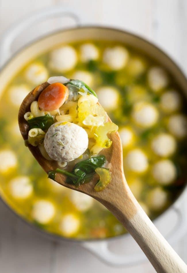 Healthy Italian Wedding Soup Recipe #ASpicyPerspective #glutenfree #skinny