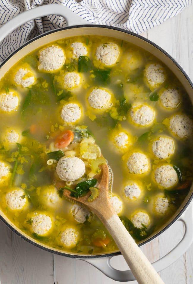Easy Healthy Italian Meatball Soup Recipe #ASpicyPerspective #glutenfree #skinny