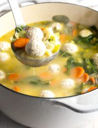 Healthy Italian Meatball Wedding Soup Recipe #ASpicyPerspective #glutenfree #skinny