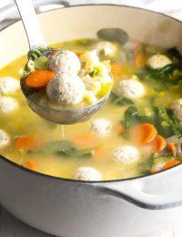 Healthy Italian Meatball Wedding Soup Recipe #ASpicyPerspective #glutenfree #skinny