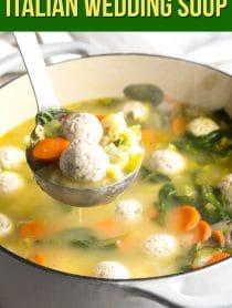 Healthy Gluten Free Italian Meatball Wedding Soup Recipe #ASpicyPerspective #glutenfree #skinny