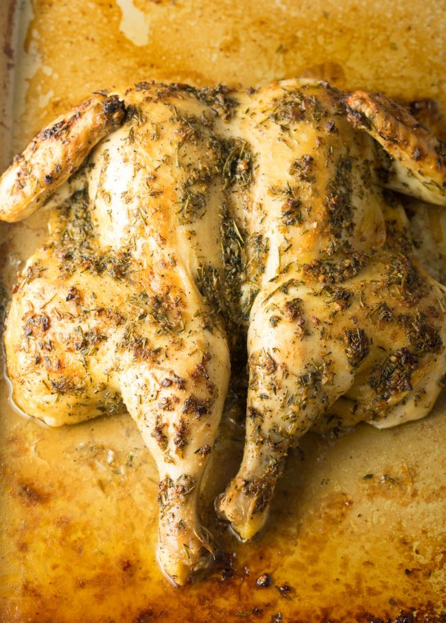 How To Spatchcock + Garlic Herb Roast Chicken Recipe #ASpicyPerspective #spatchcock #chicken
