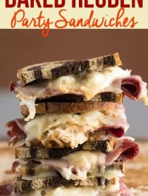 Oven Baked Reuben Party Sandwiches Recipe #ASpicyPerspective #partysandwiches #bakedsandwiches