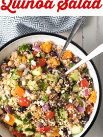 Meal Prep: Mediterranean Quinoa Salad Bowl Recipe #ASpicyPerspective #cucumber #tomatoes #greek