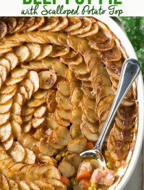 Rustic Corned Beef Pot Pie with Scalloped Potato Top #ASpicyPerspective #saintpatricksday #Irish