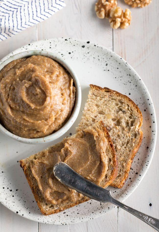 Cinnamon Maple Walnut Butter Recipe #ASpicyPerspective #vegan #spreads #nutbutter