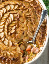 Irish Corned Beef Pot Pie with Scalloped Potato Top #ASpicyPerspective #saintpatricksday #Irish