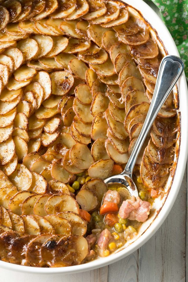 Irish Corned Beef Pot Pie with Scalloped Potato Top #ASpicyPerspective #saintpatricksday #Irish