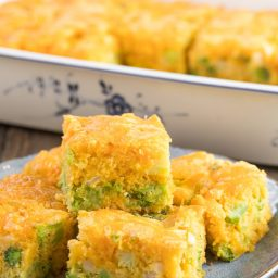 Fluffy Broccoli Cheese Cornbread Recipe #ASpicyPerspective #Easter #southern #cornbread