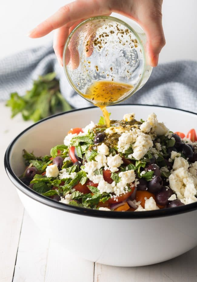 Amazing Mediterranean Quinoa Salad Bowl Recipe #ASpicyPerspective #cucumber #tomatoes #greek