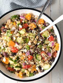 Mediterranean Quinoa Salad Bowl Recipe #ASpicyPerspective #cucumber #tomatoes #greek