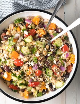 Mediterranean Quinoa Salad Bowl Recipe #ASpicyPerspective #cucumber #tomatoes #greek