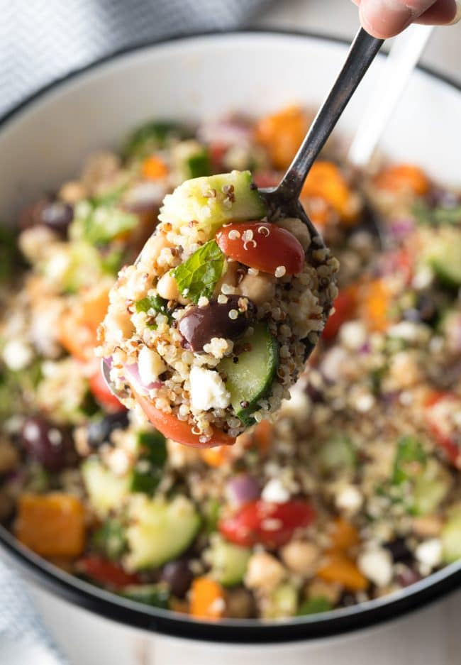 Mediterranean Quinoa Salad Recipe #ASpicyPerspective #cucumber #tomatoes #greek