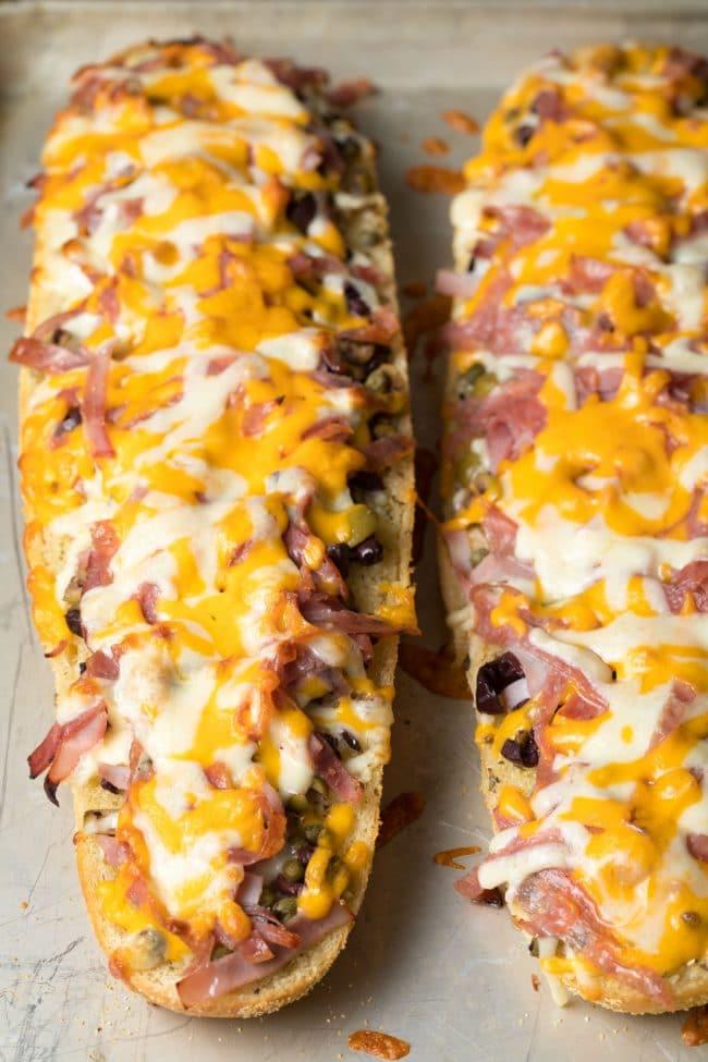 Perfect New Orleans Muffuletta Cheesy Garlic Bread Recipe #ASpicyPerspective #garlicbread #cheesebread #muffuletta #neworleans