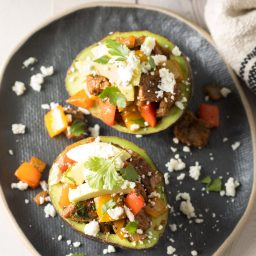 Steak Fajita Stuffed Avocado Recipe #ASpicyPerspective #lowcarb #keto #paleo