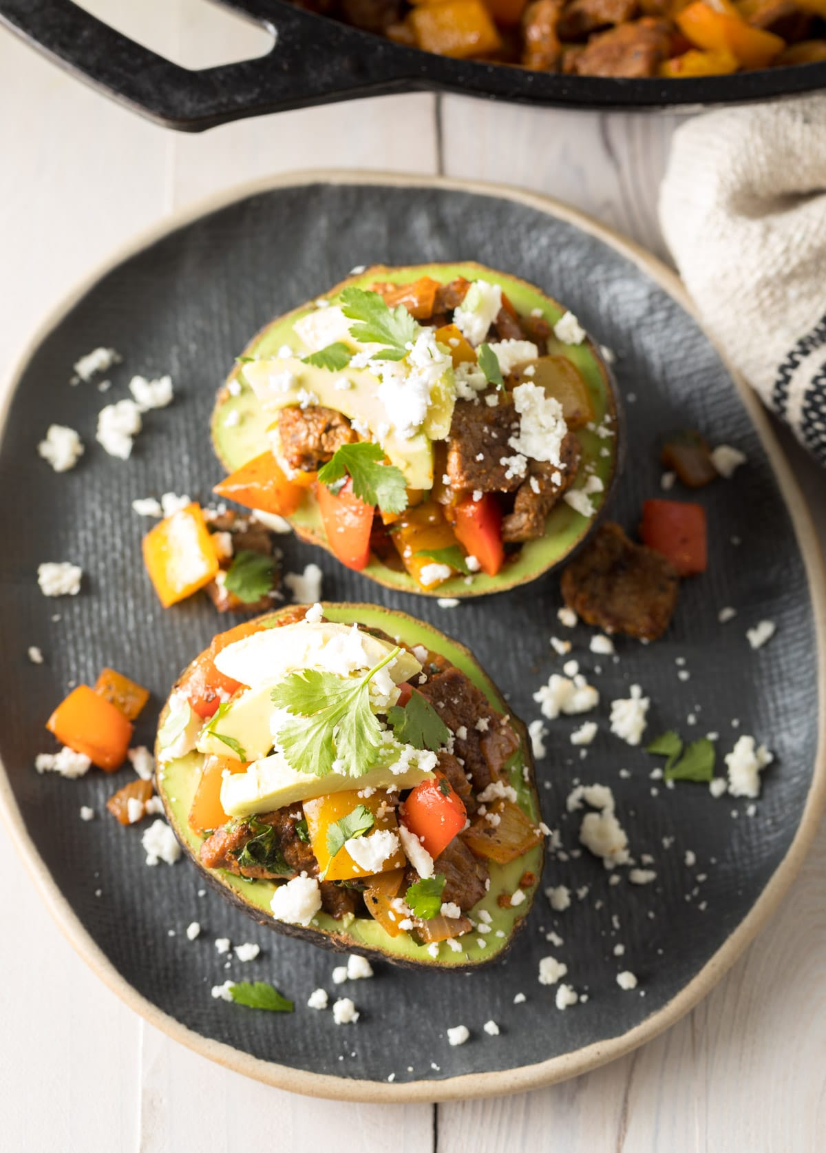 Steak Fajita Stuffed Avocado Recipe #ASpicyPerspective #lowcarb #keto #paleo
