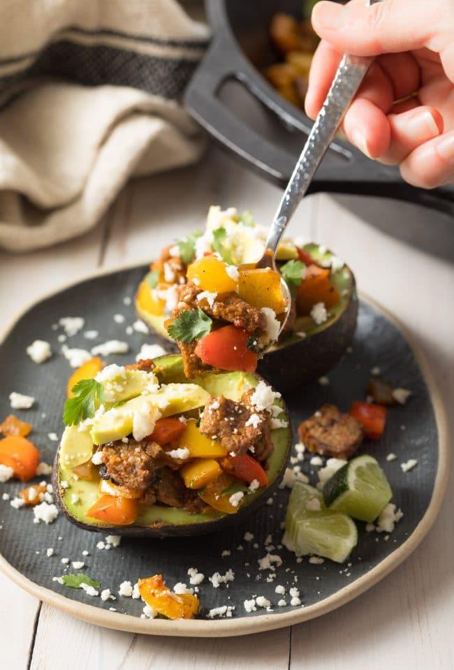 Amazing Steak Fajita Stuffed Avocado Recipe #ASpicyPerspective #lowcarb #keto #paleo