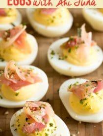 Creamy Wasabi Deviled Eggs with Ahi Tuna Recipe #ASpicyPerspective #Easter #deviledeggs