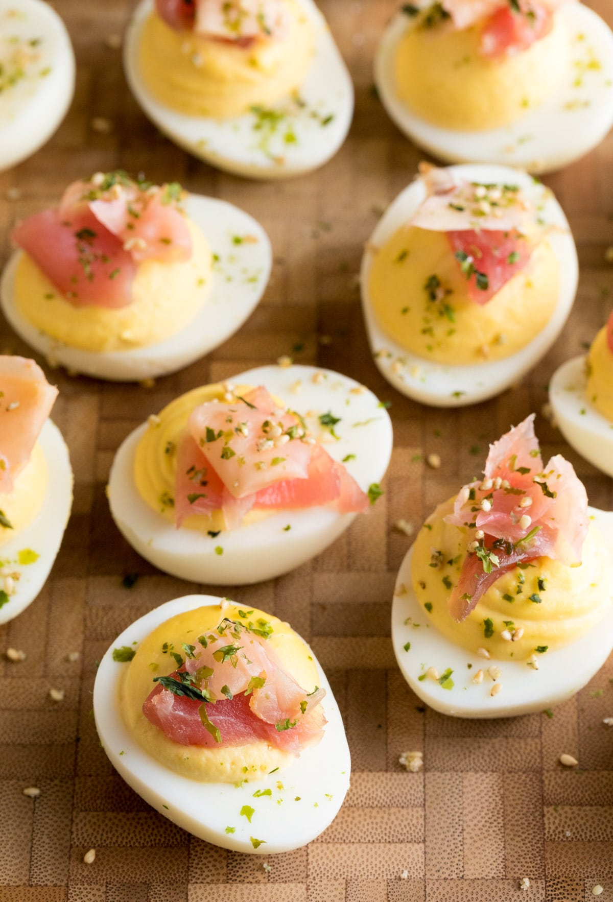TDF Wasabi Deviled Eggs with Ahi Tuna Recipe #ASpicyPerspective #Easter #deviledeggs