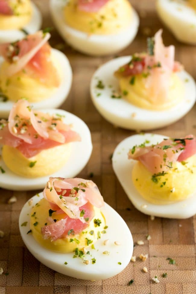 Zesty Wasabi Deviled Eggs with Ahi Tuna Recipe #ASpicyPerspective #Easter #deviledeggs