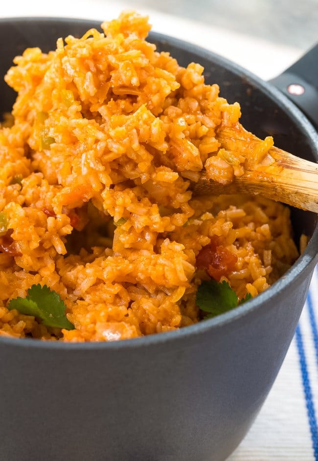 Easy 4-Ingredient Spanish Rice Recipe (Mexican Rice - Arroz Rojo) #ASpicyPerspective #rice #mexican #spanish